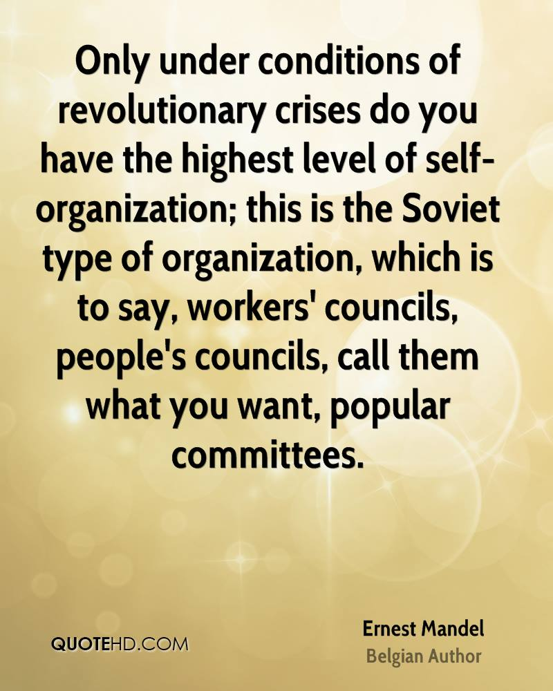 Only under conditions of revolutionary crises do you have the highest level of self-organization; this is the Soviet type of organization, which is to say, workers' councils, people's councils, call them what you want, popular committees.