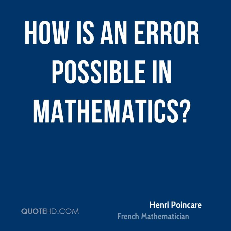 How is an error possible in mathematics?