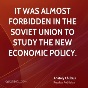 It was almost forbidden in the Soviet Union to study the New Economic Policy.