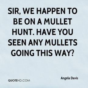 Sir, we happen to be on a mullet hunt. Have you seen any mullets going this way?