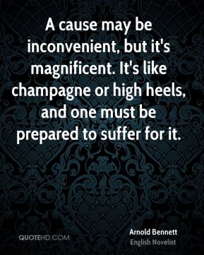 A cause may be inconvenient, but it's magnificent. It's like champagne or high heels, and one must be prepared to suffer for it.