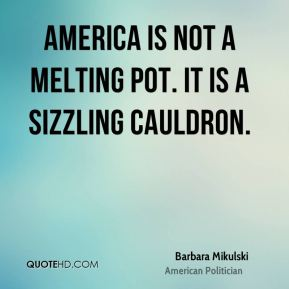 America is not a melting pot. It is a sizzling cauldron.