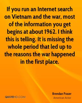 If you run an Internet search on Vietnam and the war, most of the information you get begins at about 1962. I think this is telling. It is missing the whole period that led up to the reasons the war happened in the first place.