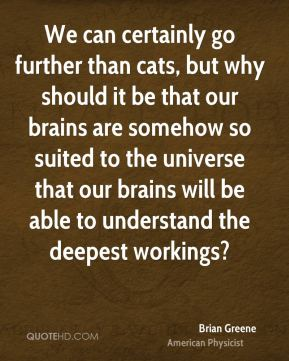 We can certainly go further than cats, but why should it be that our brains are somehow so suited to the universe that our brains will be able to understand the deepest workings?
