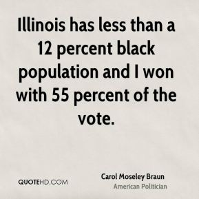 Illinois has less than a 12 percent black population and I won with 55 percent of the vote.
