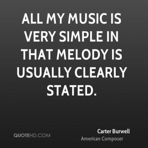 Carter Burwell - All my music is very simple in that melody is usually clearly stated.