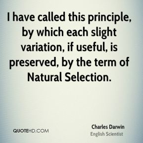 Charles Darwin - I have called this principle, by which each slight variation, if useful, is preserved, by the term of Natural Selection.
