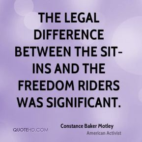 The legal difference between the sit-ins and the Freedom Riders was significant.
