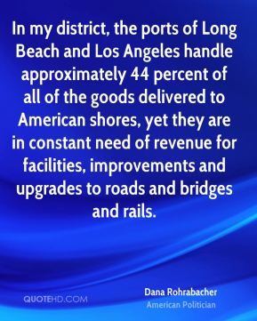 Dana Rohrabacher - In my district, the ports of Long Beach and Los Angeles handle approximately 44 percent of all of the goods delivered to American shores, yet they are in constant need of revenue for facilities, improvements and upgrades to roads and bridges and rails.