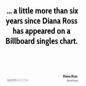 Diana Ross -  ... a little more than six years since Diana Ross has appeared on a Billboard singles chart.