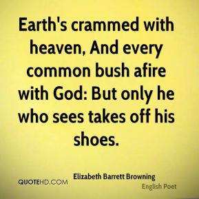 Elizabeth Barrett Browning - Earth's crammed with heaven, And every common bush afire with God: But only he who sees takes off his shoes.