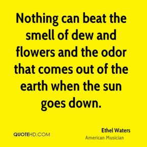 Ethel Waters - Nothing can beat the smell of dew and flowers and the odor that comes out of the earth when the sun goes down.