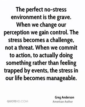 Greg Anderson - The perfect no-stress environment is the grave. When we change our perception we gain control. The stress becomes a challenge, not a threat. When we commit to action, to actually doing something rather than feeling trapped by events, the stress in our life becomes manageable.