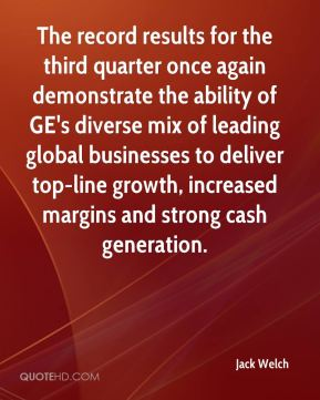 Jack Welch - The record results for the third quarter once again demonstrate the ability of GE's diverse mix of leading global businesses to deliver top-line growth, increased margins and strong cash generation.