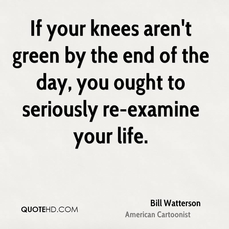 If your knees aren't green by the end of the day, you ought to seriously re-examine your life.