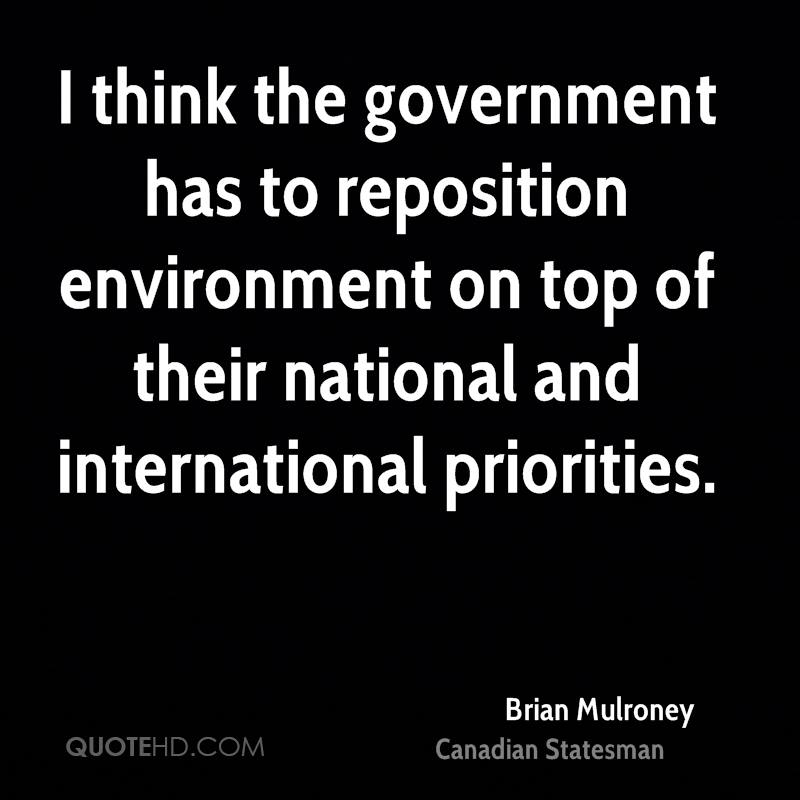 I think the government has to reposition environment on top of their national and international priorities.