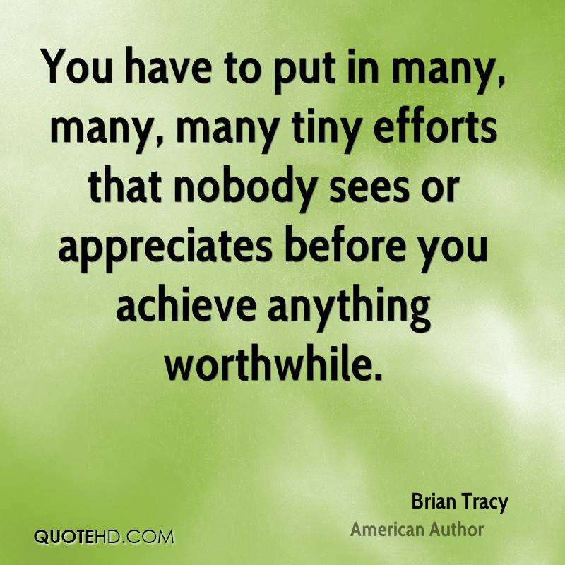 You have to put in many, many, many tiny efforts that nobody sees or appreciates before you achieve anything worthwhile.