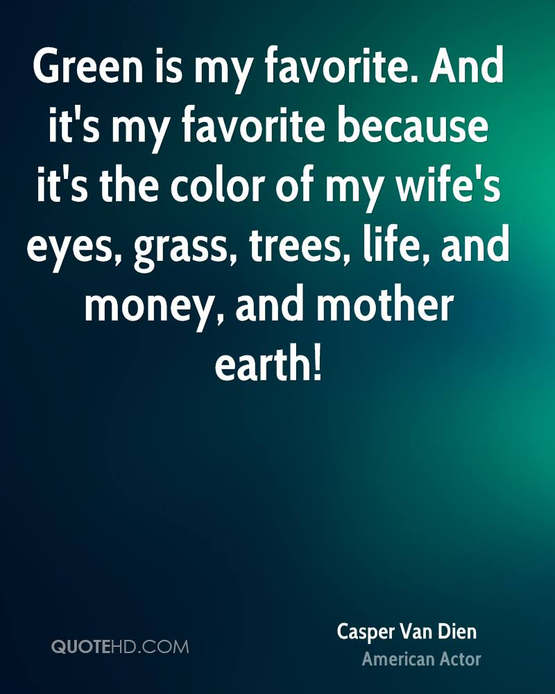 Green is my favorite. And it's my favorite because it's the color of my wife's eyes, grass, trees, life, and money, and mother earth!