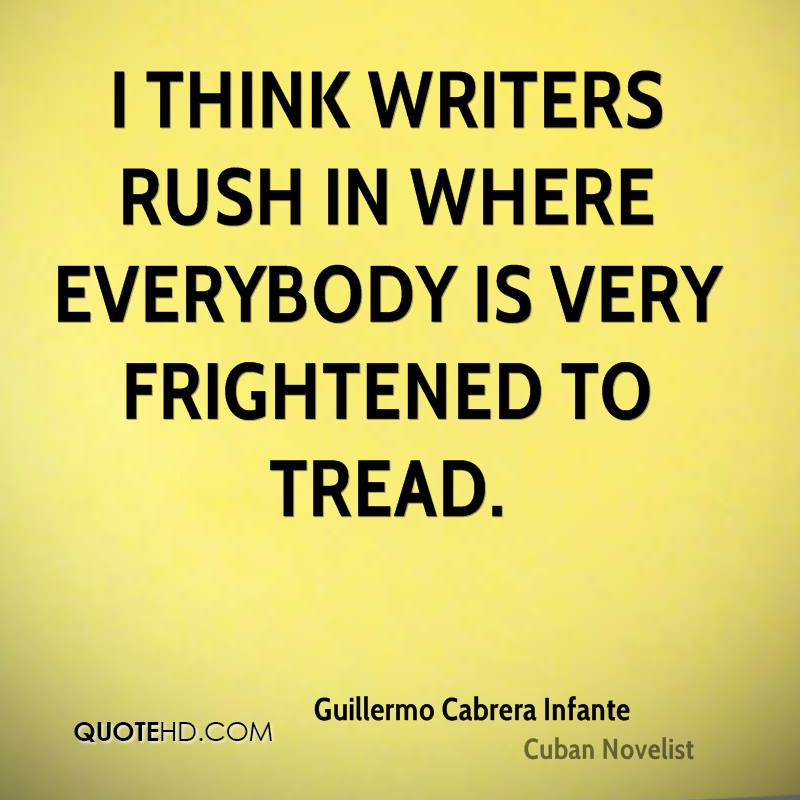 I think writers rush in where everybody is very frightened to tread.