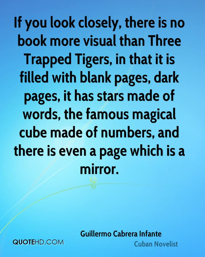 If you look closely, there is no book more visual than Three Trapped Tigers, in that it is filled with blank pages, dark pages, it has stars made of words, the famous magical cube made of numbers, and there is even a page which is a mirror.