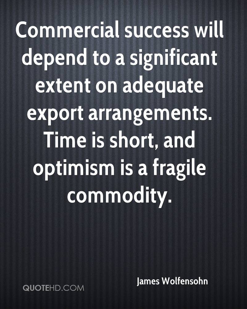 Commercial success will depend to a significant extent on adequate export arrangements. Time is short, and optimism is a fragile commodity.