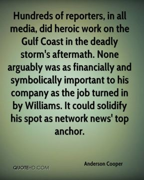 Hundreds of reporters, in all media, did heroic work on the Gulf Coast in the deadly storm's aftermath. None arguably was as financially and symbolically important to his company as the job turned in by Williams. It could solidify his spot as network news' top anchor.