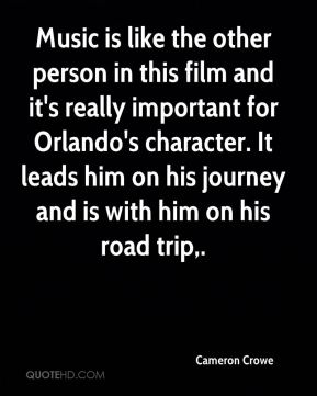 Music is like the other person in this film and it's really important for Orlando's character. It leads him on his journey and is with him on his road trip.