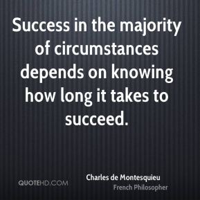 Success in the majority of circumstances depends on knowing how long it takes to succeed.