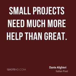 Small projects need much more help than great.