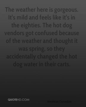 David Letterman - The weather here is gorgeous. It's mild and feels like it's in the eighties. The hot dog vendors got confused because of the weather and thought it was spring, so they accidentally changed the hot dog water in their carts.