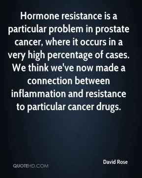 David Rose - Hormone resistance is a particular problem in prostate cancer, where it occurs in a very high percentage of cases. We think we've now made a connection between inflammation and resistance to particular cancer drugs.
