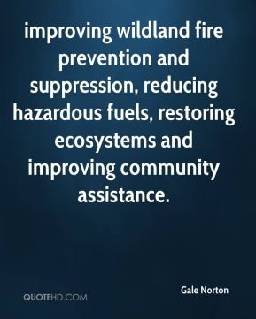 Gale Norton - improving wildland fire prevention and suppression, reducing hazardous fuels, restoring ecosystems and improving community assistance.
