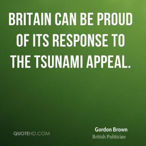 Britain can be proud of its response to the tsunami appeal.