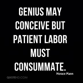 Genius may conceive but patient labor must consummate.