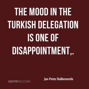 Jan Peter Balkenende  - The mood in the Turkish delegation is one of disappointment.