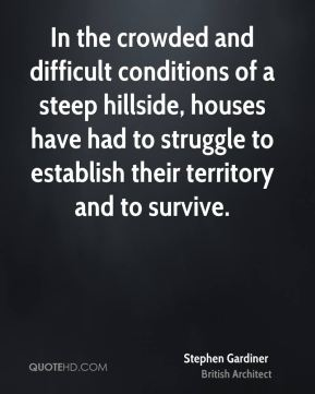 In the crowded and difficult conditions of a steep hillside, houses have had to struggle to establish their territory and to survive.