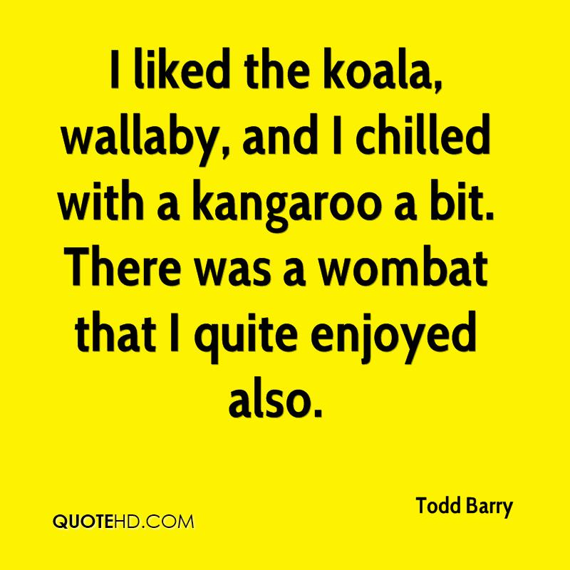 I liked the koala, wallaby, and I chilled with a kangaroo a bit. There was a wombat that I quite enjoyed also.