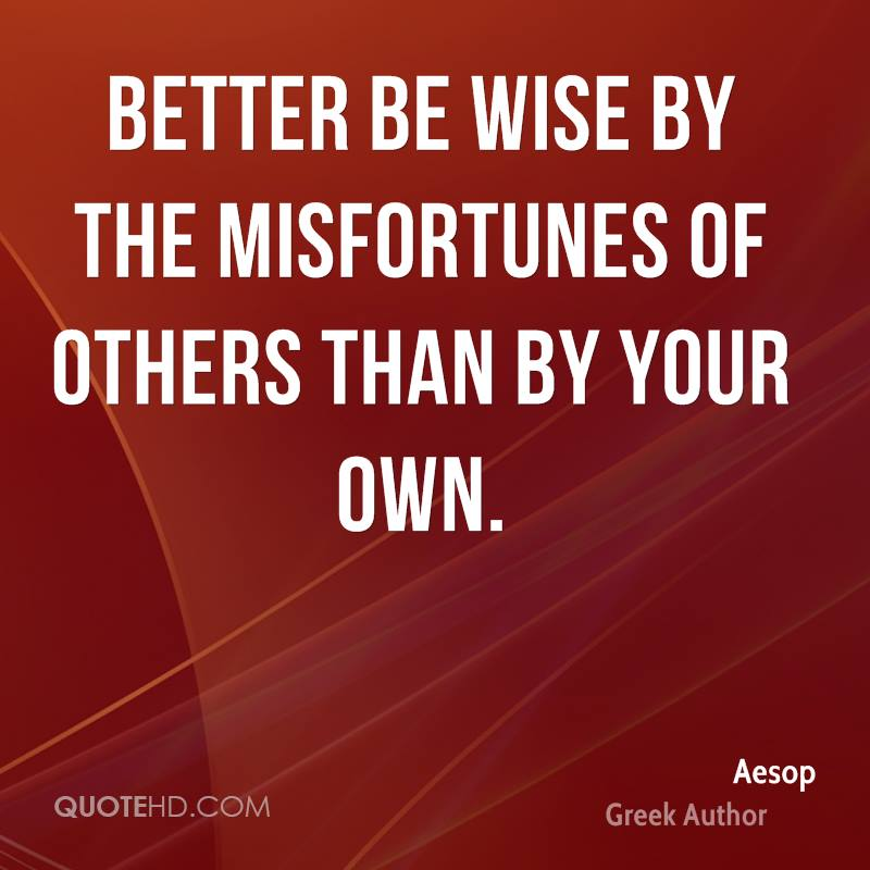 Better be wise by the misfortunes of others than by your own.