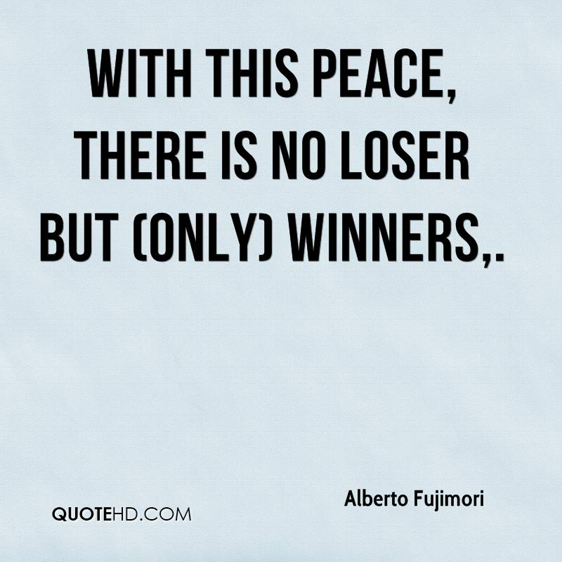 With this peace, there is no loser but (only) winners.