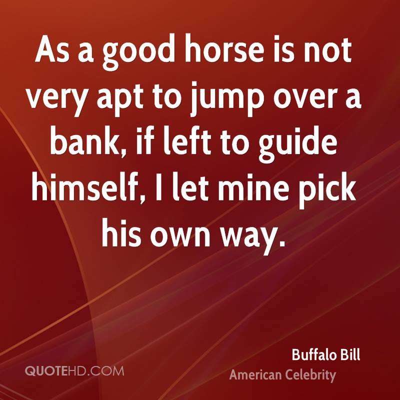 As a good horse is not very apt to jump over a bank, if left to guide himself, I let mine pick his own way.