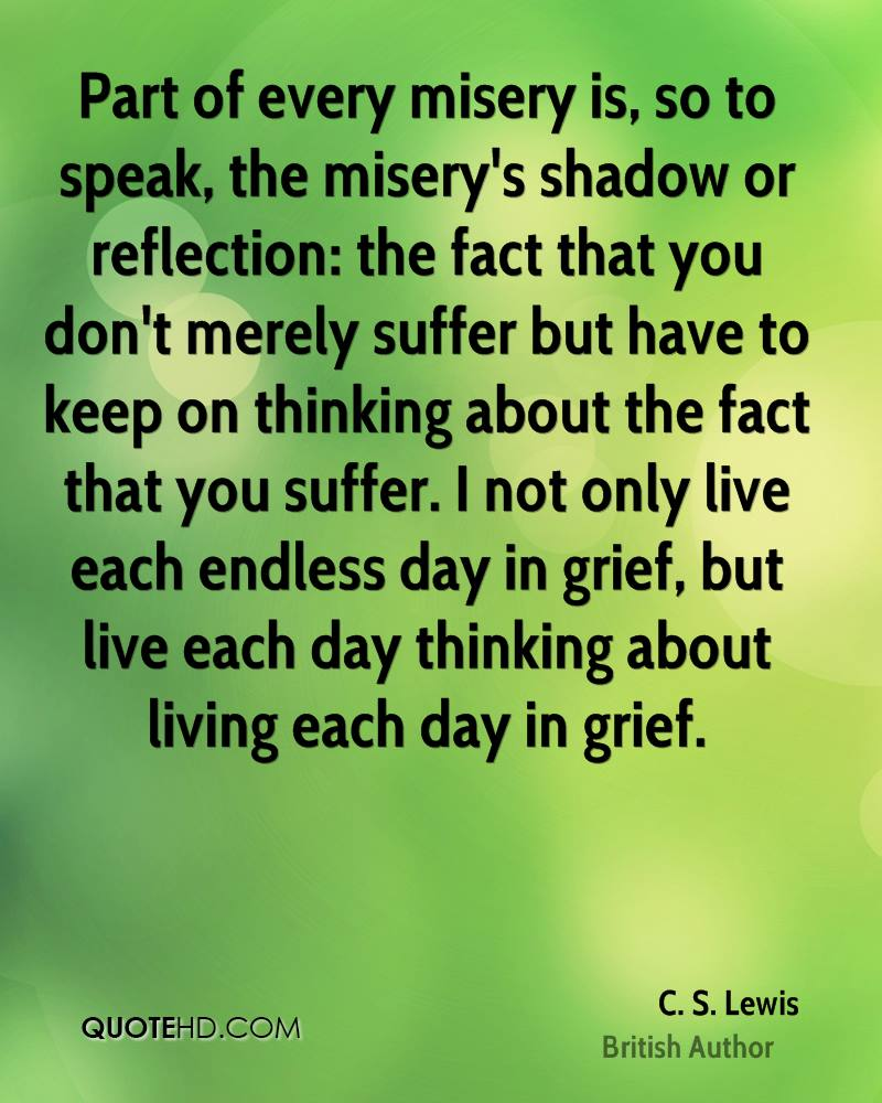 Part of every misery is, so to speak, the misery's shadow or reflection: the fact that you don't merely suffer but have to keep on thinking about the fact that you suffer. I not only live each endless day in grief, but live each day thinking about living each day in grief.