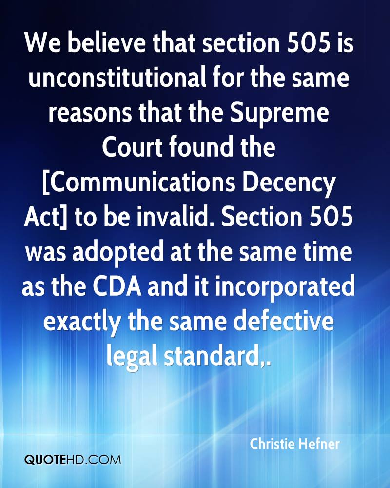 We believe that section 505 is unconstitutional for the same reasons that the Supreme Court found the [Communications Decency Act] to be invalid. Section 505 was adopted at the same time as the CDA and it incorporated exactly the same defective legal standard.