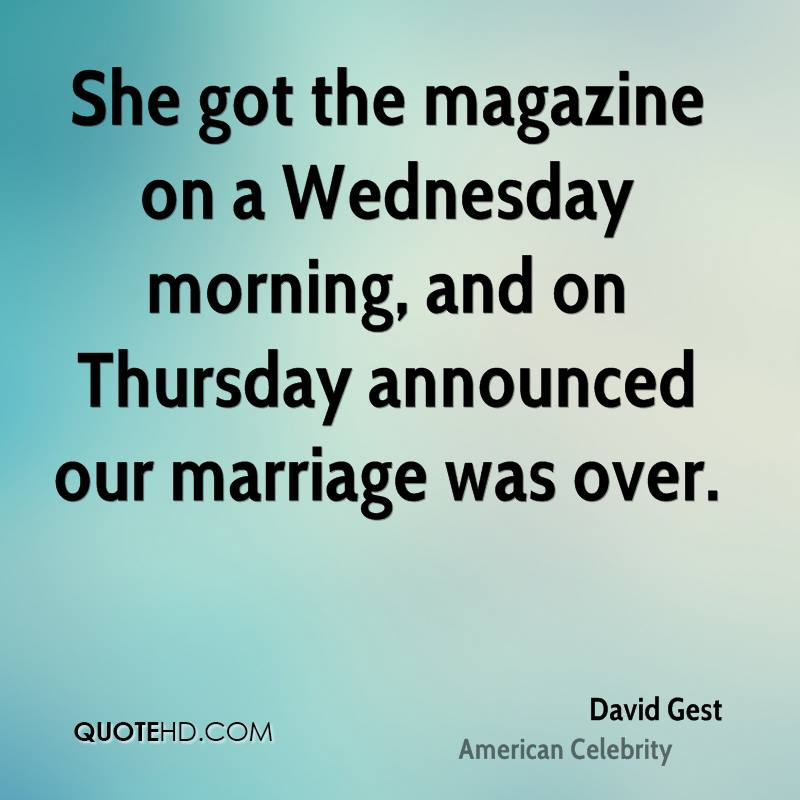 She got the magazine on a Wednesday morning, and on Thursday announced our marriage was over.