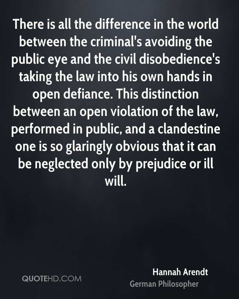 There is all the difference in the world between the criminal's avoiding the public eye and the civil disobedience's taking the law into his own hands in open defiance. This distinction between an open violation of the law, performed in public, and a clandestine one is so glaringly obvious that it can be neglected only by prejudice or ill will.