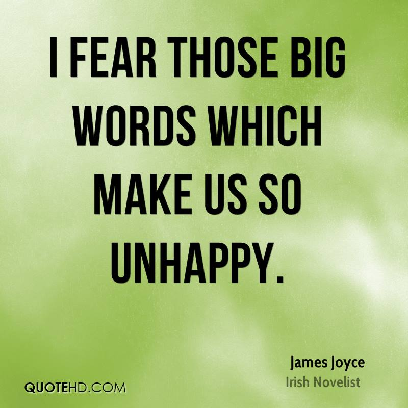 I fear those big words which make us so unhappy.