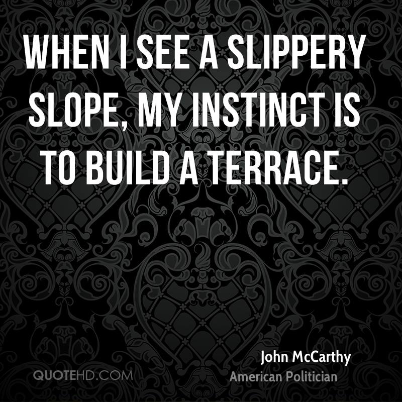 When I see a slippery slope, my instinct is to build a terrace.