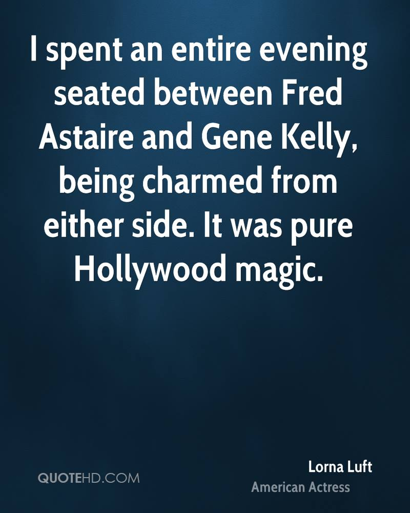 I spent an entire evening seated between Fred Astaire and Gene Kelly, being charmed from either side. It was pure Hollywood magic.