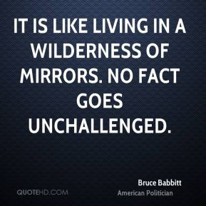 Bruce Babbitt - It is like living in a wilderness of mirrors. No fact goes unchallenged.