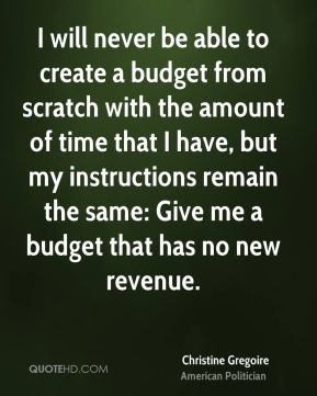 I will never be able to create a budget from scratch with the amount of time that I have, but my instructions remain the same: Give me a budget that has no new revenue.