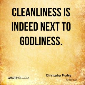 Christopher Morley - Cleanliness is indeed next to godliness.